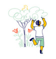 african boy drawing tree bird and flowers happy vector image vector image