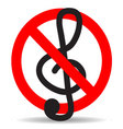 Ban music treble clef design icon flat vector image