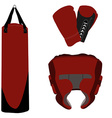 Boxing gloves bag and helmet vector image vector image
