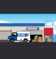 cargo truck at warehouse vector image