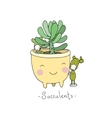 Cartoon cute succulents in pot vector image vector image