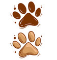 cartoon dog paw icon set vector image