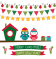 Christmas set with owls vector image vector image