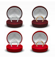 clear round red velvet opened jewelry gift box vector image vector image
