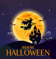 dark house on blue full moon witch flying over vector image