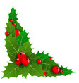 decorative corner or with christmas holly berries vector image