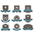 emblems and badges with crowns and ribbons - award vector image vector image