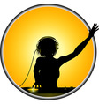 Female DJ silhouette border vector image vector image