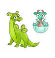 flat cartoon dragon with horns wings set vector image