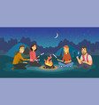 friends on a camp - cartoon people character vector image