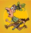 funny cartoon hunter with gun runs away in fright vector image vector image