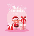 helper santa claus for xmas with gift boxes vector image