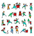 icons with christmas people thin simple stickers vector image vector image