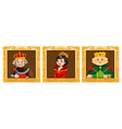 Kings and queens in photo frames vector image vector image