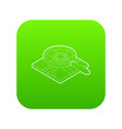 magnifying glass over map icon green vector image vector image