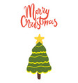 merry christmas greeting card with decorated tree vector image vector image