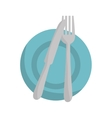 plate with knife and fork vector image