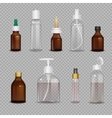 Realistic Bottles On Transparent Background vector image vector image
