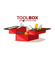 red classic toolbox full of equipment vector image vector image
