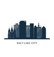salt lake city skyline monochrome silhouette vector image