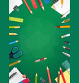 school chalkboard with different objects vertical vector image