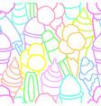 seamless pattern set ice cream art line vector image