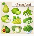 set cartoon green food icons vector image vector image