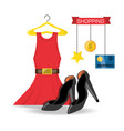 Set icon dress credit card and heel shopping vector image