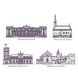 set isolated estonia or estonian old buildings vector image vector image