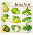 set of cartoon green food icons vector image