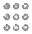 set of web icon gray stickers vector image vector image