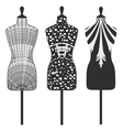 Set patterns female mannequins vector image