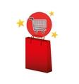 shop cart red bag gift star design vector image vector image