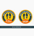 social distancing two traces a yellow sign vector image vector image