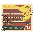 stamp with Forbidden city in China vector image vector image