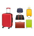 suitcase realistic luggage tourists fashioned vector image