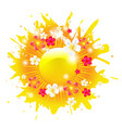 sunburst banner with flowers and sun vector image vector image