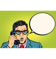 Surprise Businessman talking on the phone vector image vector image