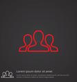 team outline symbol red on dark background logo vector image vector image