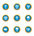 up in air icons set flat style vector image vector image