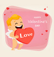 valentines day greeting card with cute cupid vector image vector image