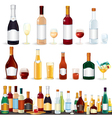 variety popular alcohol beverage bottles from bar vector image
