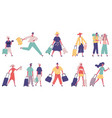 walking hurrying male and female tourist group vector image