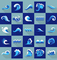 water wave blue icons set flat style vector image vector image