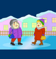 woman and man walking in a small winter town vector image vector image