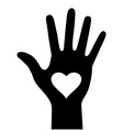 Hand with heart icon for your design vector image