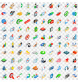 100 business payment icons set isometric 3d style vector image vector image