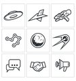 Aliens search Contact icons vector image vector image