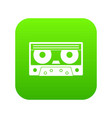 audio cassette tape icon digital green vector image