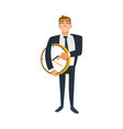 businessman and time concept with young office vector image vector image
